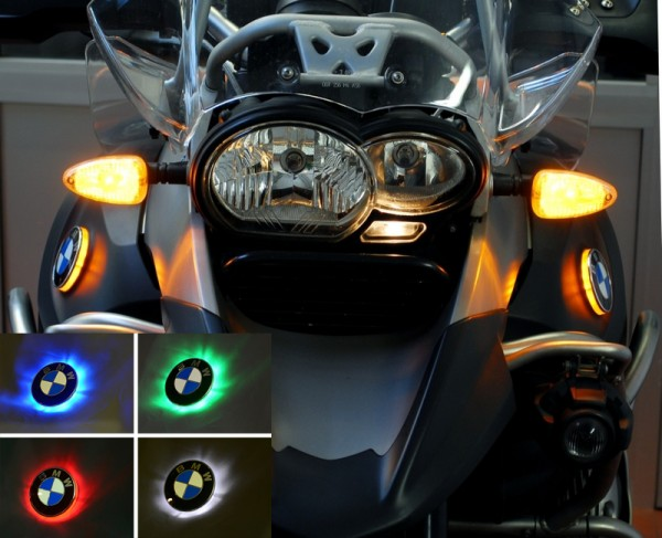 For BMW R1200GS Adv. up to 2013 two colour BMW roundel badge lights