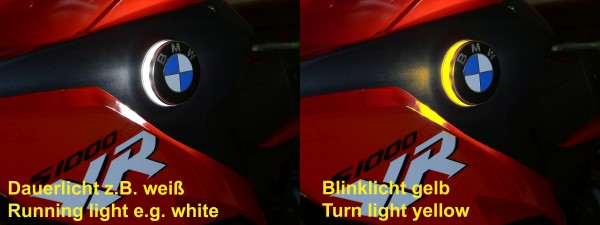 BMW S1000XR two colour roundel badge lights
