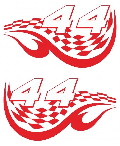 Startnummern Aufkleber Typ RACING-FLAG NUMBERS von 0 bis 99
