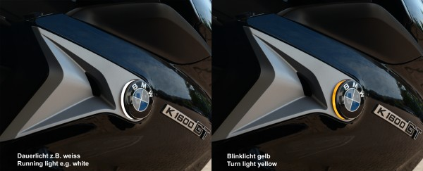 Two colour BMW roundel badge LED lights for K1600GT / K1600GTL /Bagger / Grand America since model 2017 and newer